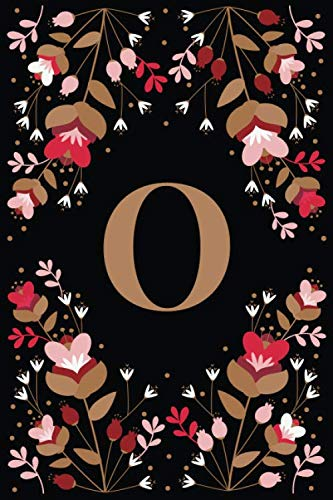 O: Elegant Floral Initial O Monogrammed Composition Notebook Journal - 110 Lined Pages (55 Sheets) - 6