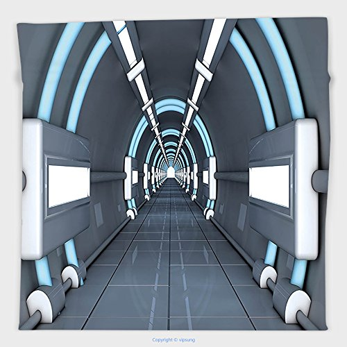 Vipsung Microfiber Ultra Soft Hand Towel-Outer Space Decor Fantastic Inner View Of Rocket Structure Cyber Hallway Trip To Dark Matter Gray Blue For Hotel Spa Beach Pool Bath
