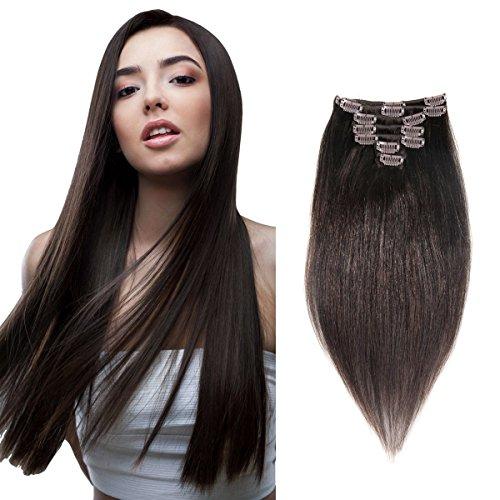 abhair Clip in 100% Human Hair Extensions Silky Soft Yaki St