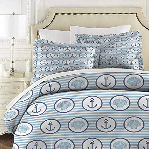 Anchor Bedding Set Full Seashells in a Circle Shape Cal King (104x98 inches) - 3 Pieces (1 Duvet Cover + 2 Pillow Shams) - with Zipper Closure Ultra