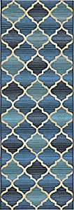 Unique Loom Outdoor Collection Moroccan Lattice Transitional Indoor and Outdoor Blue Runner Rug (2' x 6')