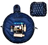 #6: Lazy Fast Quick Pack All-In-One Waterproof Travel Cosmetic Makeup Toiletry Organizer Bag Pouch With Hook & Loop Fasteners And Drawstring Multi-colors, Navy Blue Feather
