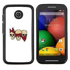 "Be-Star Único Patrón Plástico Duro Fundas Cover Cubre Hard Case Cover Para Motorola Moto E / XT1021 / XT1022 ( Cráneo cuadrilla divertido Blanca Bufanda Roja"" )"