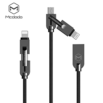 AICase 2 en 1 Cable Multiple,Multi USB Cable de Carga Múltiples USB Cable Cargador,Compatible con Phone(ISO), Android