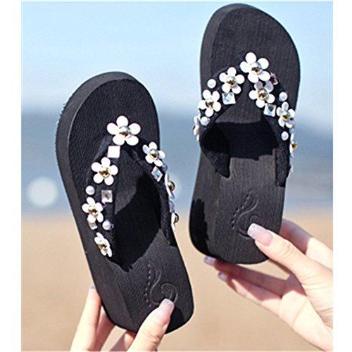 KAKA(TM) Womens Fashion Rhinestone Glitter Studded Crystal Thong Sandals Flip Flops Heavy-bottomed slippers Sandals£¨9£©Sky blue Black JojwcJuz