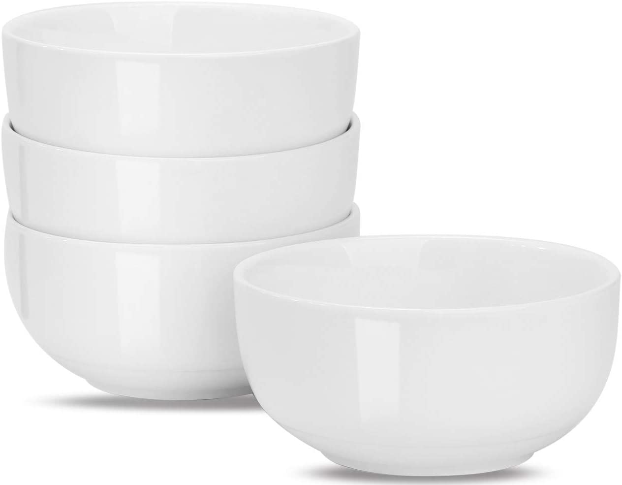 MueYan Porcelain Bowl Set - 28 Ounce for Cereal, Soup, Pasta, Salad and Ice Creams, Dessert, Mixing Bowls - Set of 4, White, Microwave and Dishwasher Safe Bowls