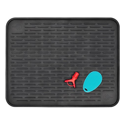 "Silicone Dish Drying Mat for Kitchen Countertop XXL 23"" x 18"" Heat Resistant Trivet Antibacterial Dishwasher Safe With Two Bonus Items: Silicone Soft Scrubber and Silicone Bottle Pourer"