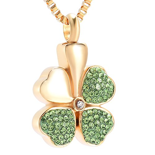 Fantasyland Jewelry Crystal 4 Leaf Clover Cremation Urn Necklace Stainless Steel Ashes Keepsake Memorial Jewelry Pendant (Gold1)