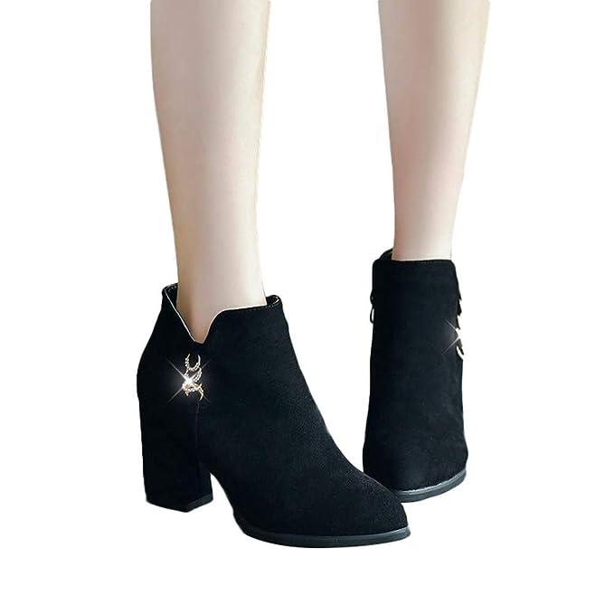 MYMYG Tacon Alto Mujer Botas Botines Mujer Tacon Invierno Planos Tacon Ancho Piel Botas de Mujer Medio Zapatos Combat Casual Planas Zapatos de Plataforma: ...