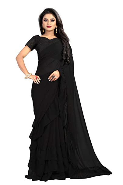 aa82c9223f8 Clickedia Women's Pure Georgette with four side Ruffle lace Saree ...