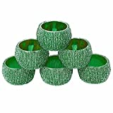 SKAVIJ Napkin Rings for Dinner Parties, Weddings Receptions, Family Gatherings, or Everyday Use, Set Your Table With Style - Glass Beads, Set of 6