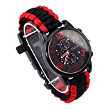 Wooboo Paracord Outdoor Watch with Survival Compass Whistle Fire Starter Watchband Bracelet (Black Red)