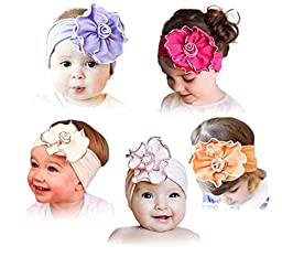 ZHW Baby Girl\'s Flower Headband Hairband Bow Big Flower 5 Pack