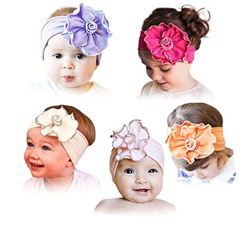 ZHW Baby Girl's Flower Headband Hairband Bow Big Flower 5 Pack