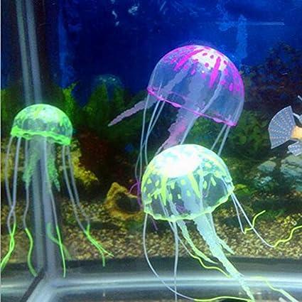syalex (TM) nueva pequeña/mediana/grande brillante efecto Medusa Artificial acuario Adorno