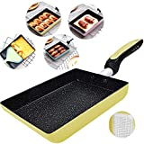 Tamagoyaki Japanese Omelette Pan/Egg Pan - Non-stick Coating - Rectangle Frying Pan Mini Frying Pan (Yellow)