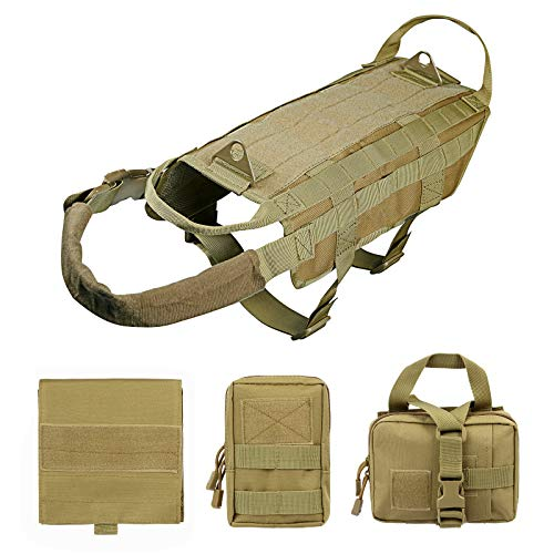 Petvins Tactical Dog Molle Vest Harness K9 Adjustable Outdoor Training Service Camouflage Harness with 3 Detachable Pouches Brown Size L