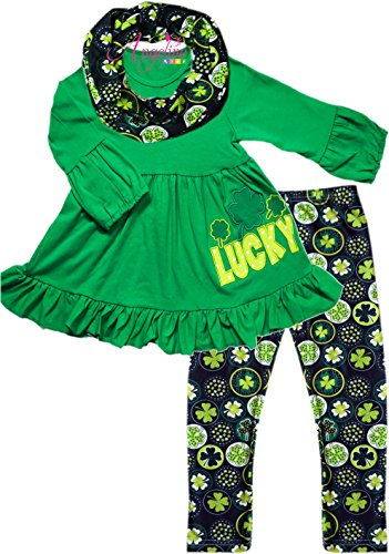 Boutique Clothing Girls St Patrick's Day Shamrock Clover Lucky Scarf Set 5/L -