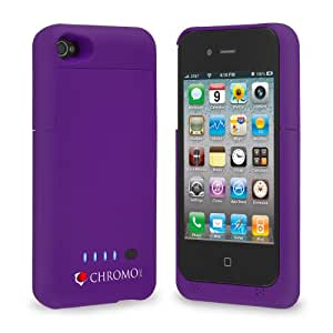 Chromo Inc. iPhone 4 4S Battery Case 1900mAh Ultra Slim Purple, Bonus Screen Protector