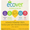 Ecover Naturally Derived Automatic Dishwasher Tablets, Citrus, 25 Count, 17.6 Ounce (Pack of 6)