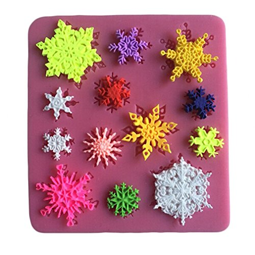 Chocolate Butter Icing (Snowflake Decoration Mould for Icing, Chocolate, Fondant, Butter, Resin, Cabochon, Polymer Clay, fimo, gum paste, PMC, Wax, Soap Mold, Assorted Colors)