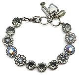 Mariana Swarovski Crystal Silver Plated Bracelet Dark Grey Blue Flower Mosaic 215-3 Martini