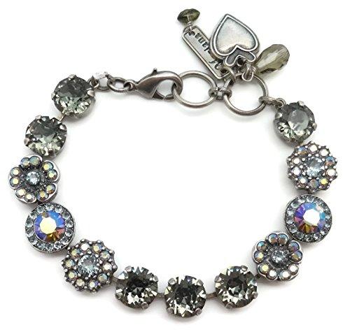 Mariana Swarovski Crystal Silver Plated Bracelet Dark Grey Blue Flower Mosaic 215-3 Martini by Mariana