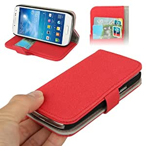 Gravel Texture Horizontal Flip Leather Case with Holder & Credit Card Slots for Samsung Galaxy S IV mini / i9190 (Red)
