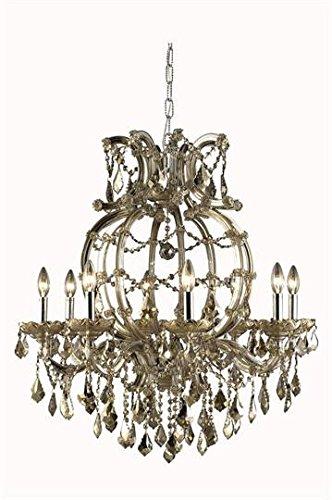 (Karla Golden Teak Traditional 8-Light Hanging Chandelier Heirloom Handcut crystal in Golden Teak-2380D28GT-GT-RC--28.5
