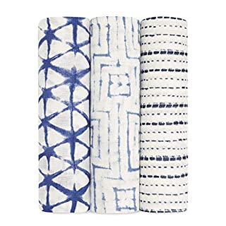 aden + anais Silky Soft Swaddle Blanket,100% Bamboo Viscose Muslin Blankets for Girls & Boys, Baby Receiving Swaddles, Ideal Newborn & Infant Swaddling Set, 3 Pack, Indigo Shibori