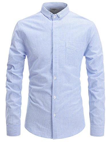 Layered Look Stripe Shirt (NEARKIN (NKNKS677) Slim Cut Look Short Collar Stripe Pattern Seersucker Shirt For Men SKYBLUE US M(Tag size M))