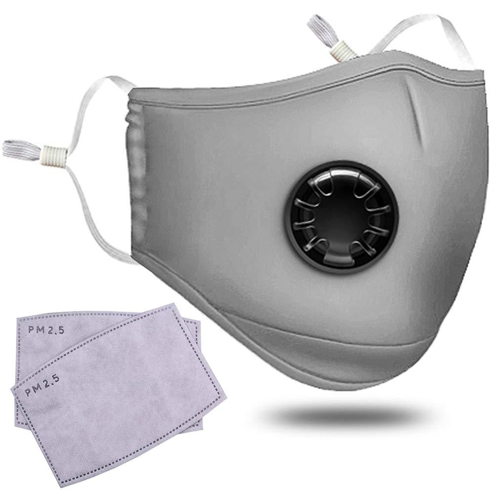 Anti Pollution Masque Adulte PM 2, 5 Pollen Masque Anti-poussière Lavable en Machine Anti Buée Anti-poussière Masque Antibactérien Filtre à Charbon Actif Earloop Bouche Masque Avec 2 filtres Shenggetu