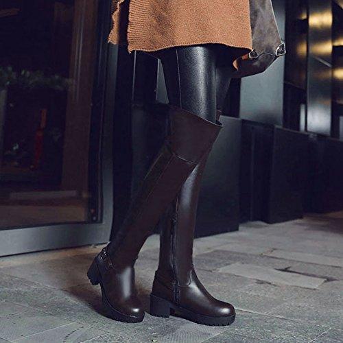 COOLCEPT Botas Sobre la Rodilla para Mujer Dark Brown