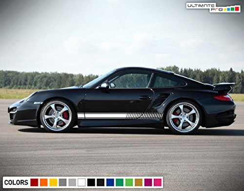 Porsche 911 Turbo Mirror - Decal Sticker Vinyl Side Sport Stripe Body Kit Compatible with Porsche 911 2012-2017 (WHITE)