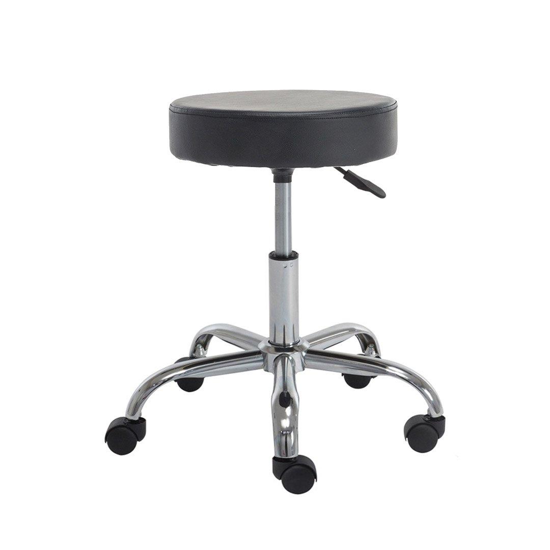 Polorim Rolling Chairs Adjustable Salon Stool Rolling Swivel Stool Height Adjustable Seat Relief Hydraulic Massage Spa Stool, Padded Stool Black Leather