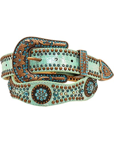 Nocona Women's Big Round Conchos Scalloped Edge Belt, Blue, M by Nocona Boots