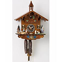 1 Day Chalet Black Forest Cuckoo Clock with Old Man and Dog by Hönes