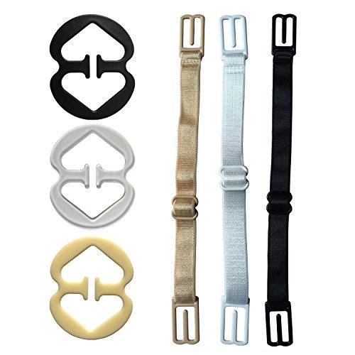 3 Pack Non-slip Women's Elastic Bra Strap Holder & Clips - Adjustable & Concealing