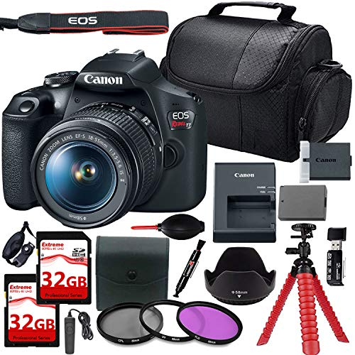 Canon EOS Rebel T7 DSLR Camera with 18-55mm Lens + 2 Pcs 32GB Extreme Card + Filters + Tulip Hood + Remote + Extra Battery & More