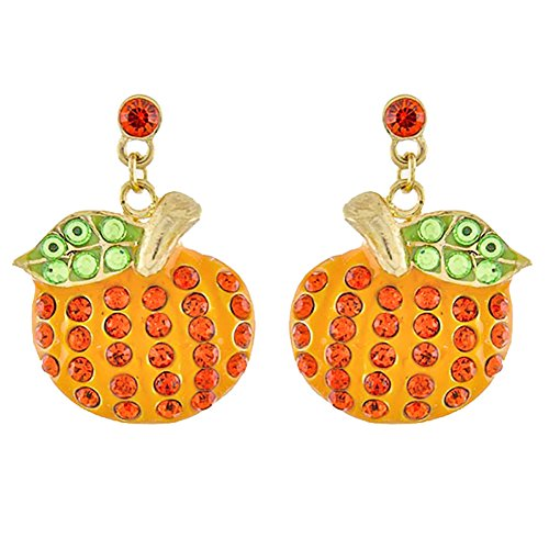 ACCESSORIESFOREVER Halloween Costume Jewelry Crystal Rhinestone Pumpkin Dangle Earrings E1139 GD