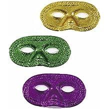Fun Express Mardi Gras Glitter Half Masks (1 Dozen)