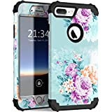 iPhone 8 plus Case, iPhone 7 plus case PIXIU Three Layer Heavy Duty Hybrid Sturdy Armor shockproof Protective phone Cover Cases for Apple iPhone 8 plus/7 plus(Peony)