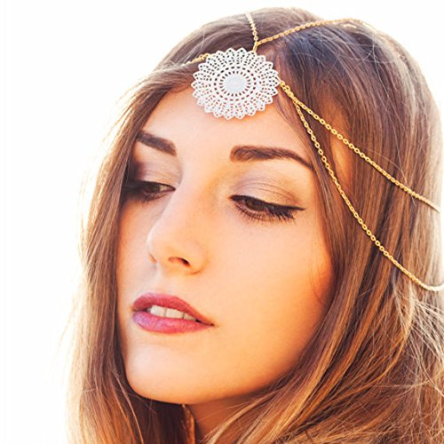- OLIJU Bridal Hair Styling Accessories Decorated Boutique Retro Flow Princess Costume Chain Frontlet Forehead Head Between Eyebrows Fall India ((Gold) faceplate Tassel Style