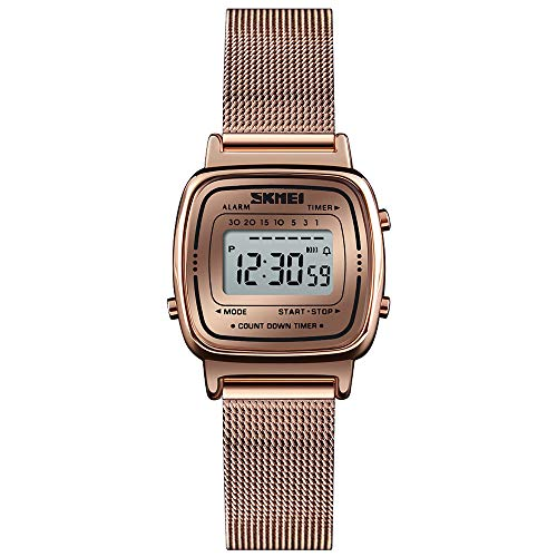 Women's Rose Gold-Tone Digital Watch Stainless Steel Waterproof Square Wristwatch for Women with Fashion Dress Band