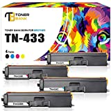 Toner Bank 4Packs Compatible Brother TN433 TN433BK Toner Cartridge for Brother HL-L8360CDW HL-L8360CDWT HL-L8260CDW MFCL8900CDW MFCL8610CDW MFCL9570CDW MFC-L8900CDW Printer High Yield TN-433 TN431