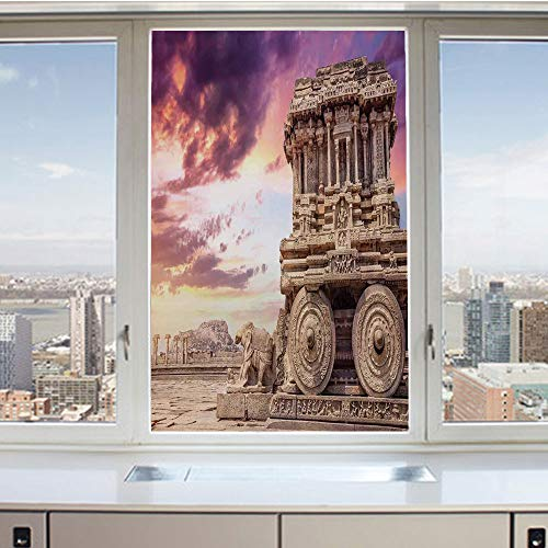 3D Decorative Privacy Window Films,Old Historic Ruins Carving with Ivy Patterns at Sunset Indian Mystic Sky Picture Wall Art,No-Glue Self Static Cling Glass film for Home Bedroom Bathroom Kitchen Offi