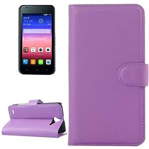 Texture lichis Funda Horizontal con tapa piel Case Cover con Slots & Wallet Card Holder & para Huawei Ascend Y550 Vidrio templado (Purple)