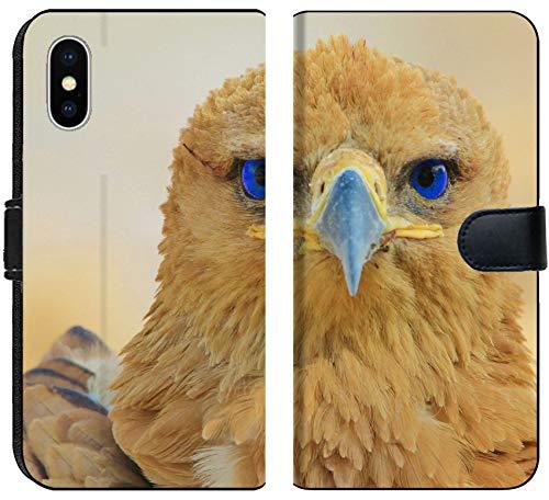 Tawny Eagle - Liili Premium iPhone X Flip Micro Fabric Wallet Case Tawny Eagle Wildlife Background from Africa Blue Eyes 28424217