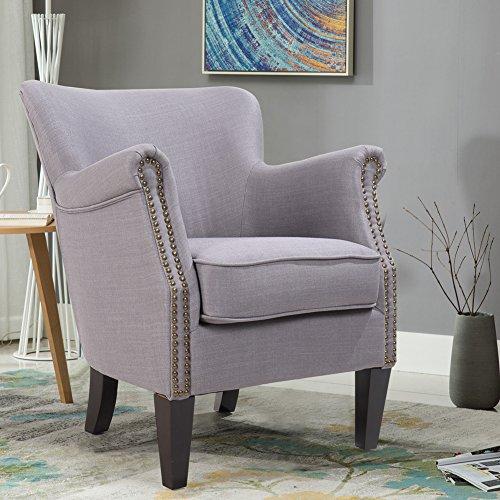 Zenith Monet Classic Nail Head Design Imitation Linen Fabric Accent Chair  Single Sofa Armchair Club