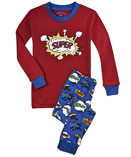 - Sara's Prints Kids' Little Cotton Long John Pajamas, Super, 6